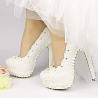 Туфли женские, Свадебные-Банкетные, Дизайнерские ручной работы,Шикарные модели, с жемчугом (34-43р.)2017 год.