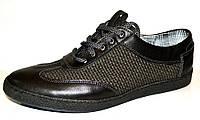Мужские туфли кожа натуральная текстиль на шнурках синие 0219УКМ