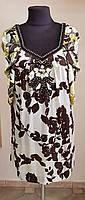 Шелковистое платье ,бежевое в зелёно-коричневые цветы (Франция)