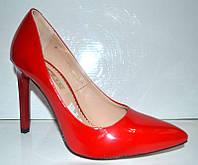 Туфли женские лаковые красные 0282КФМ