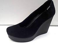 Туфли женские на танкетке кожа, замша 0244УКМ
