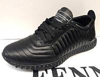 Кроссовки мужские кожаные черные 0314УКМ