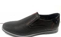 Мужские весна-лето туфли перфорированная натуральная кожа черные 0011МАМ