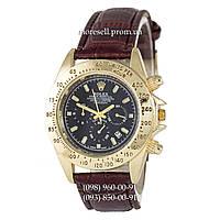 Часы Rolex Cosmograph Daytona Quartz Leather Brown-Gold-Black