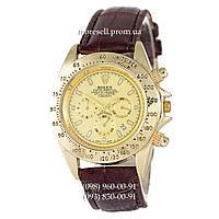 Часы Rolex Cosmograph Daytona Quartz Leather Brown-Gold