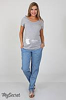 Летние брюки для беременных Hanna denim, голубой джинс