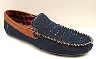 Мокасины мужские стильные джинсовые 0355КФМ