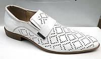 Мужские летние туфли кожаные белые 0001СТРМ