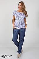Летние брюки для беременных Hanna denim, синий джинс