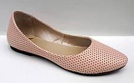 Балетки женские кожаные розовые, белые 0296УКМ