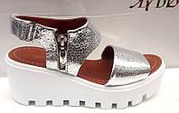 Босоножки женские на платформе кожаные серебро, золото 0295УКМ