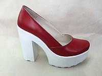 Туфли на толстом каблуке кожаные 0029АЛМ