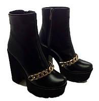 Женские ботинки на толстом каблуке кожа 0023АЛМ