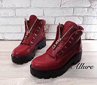 Ботинки кожаные красные и черные 0024АЛМ