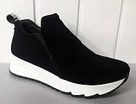 Слипоны ботинки женские кожа/замша белые, чёрные 0002АВМ