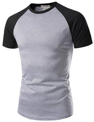 Мужская хлопковая серая футболка с черными рукавами, фото 2