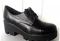 Туфли женские кожаные на высокой подошве 0316 УКМ