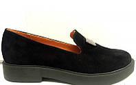 Туфли женские замшевые на низкой подошве 0328УКМ