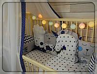 Бортики,захист в ліжечко+постільна білизна+балдахін