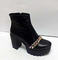 Ботинки демисезонные женские кожаные на толстом каблуке 0037АЛМ