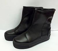 Ботинки женские осенние кожаные черные 0042АЛМ