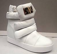 Модные белые сникерсы экокожа 0403КФМ