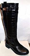 Сапоги высокие женские зимние кожаные под рептилию 0035ООГМ