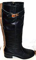 Сапоги высокие женские зимние кожаные чёрные 0036ООГМ