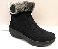 Дутики-ботинки женские зимние на меху черные на замочке 0421КФМ