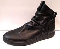 Ботинки зимние полусапоги мужские кожаные на замочке черные, коричневые 0370УКМ