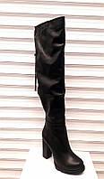 Сапоги-ботфорты женские зимние кожаные на каблуке 0368УКМ
