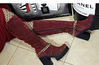 Сапоги женские высокие демисезонные/зимние замша на каблуке 0376УКМ