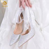 Туфли женские, Свадебные-Банкетные, Дизайнерские ручной работы,Шикарные модели, Кристаллы (33-40р.)2017 год.