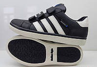 Кроссовки детские, подростковые кожаные черные/синие 0391УКМ