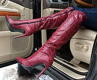 Ботфорты женские демисезонные кожаные цвет марсала  0009АВМ