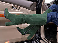 Сапоги высокие демисезонные замша на толстом каблуке разные цвета 0010АВМ