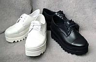 Женские туфли на платформе кожа/замша разные цвета  0015АВМ