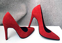 Женские туфли лодочки на шпильке кожа/замша разные цвета 0017АВМ