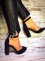 Туфли женские на каблуке с ремешком из кожи/замши 0414УКМ