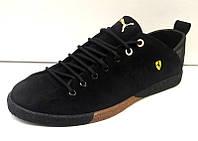 Мужские туфли из кожи и замши черные и красные 0005ПОМ