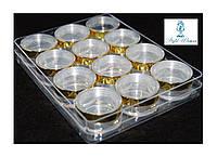 Баночка с закруткой прозрачная, золото, упаковка 12шт в контейнере