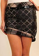 Стеганная молодежная (подростковая) теплая юбка, верх из плащевки, подклад на флисер.42 код 2829М