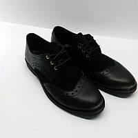 Женские туфли-оксфорды кожаные/замшевые черные 0073АЛМ