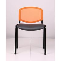 Стул Изо Веб Лак черный, сиденье Сетка черная, спинка Сетка оранжевая (AMF-ТМ)
