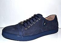 Мужские туфли чёрные кожа/замша черные, синие 0005МАР