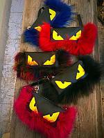 Женская сумка-клатч Экокожа премиум с мехом 0001-01