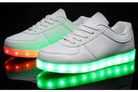 Кроссовки женские/подростковые со светящейся подошвой  экокожа качественная 0019КФМ