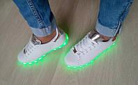 Кроссовки женские/подростковые со светящейся подошвой Китай фабричный качественная экокожа 0047КФМ