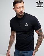 Черная модная футболка поло adidas