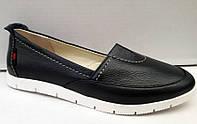 Балетки-туфли женские кожаные черные 0308УКМ